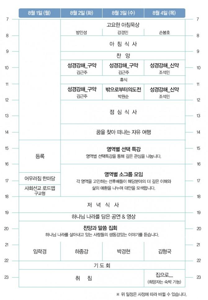 2011 성서한국 전국대회 시간표